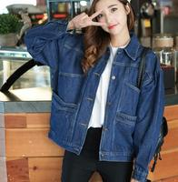 zm31973a casual loose short denim jacket ladies long sleeve jeans coats for women