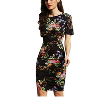 2018 Women's Floral Short Sleeve Flower Print Bodycon Pencil Dress