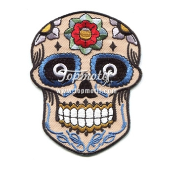 custom iron on patches for shirts embroidery skull patches