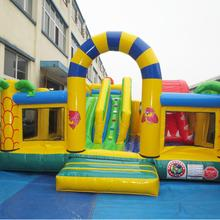Dreamlike PVC material kids outdoor inflatable fun city inflatable bouncer castle with dinosaur slide for sale