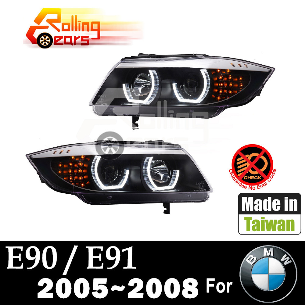 HALO PROJECTOR HEADLIGHTS LED ANGEL EYES for BMW E90 E91 316d 316i 318d 318i 320d 320i 323i 325d 325i 328i 330d 330i 335d 335i