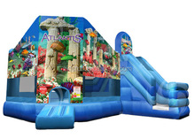 2016 top sale happy top jumping inflatable bounce house water slide