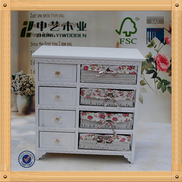 FSC art minds shabby chic style 8 wicker cream white mini durable elegant Wooden Drawer Storage Chest Unit Cabinet