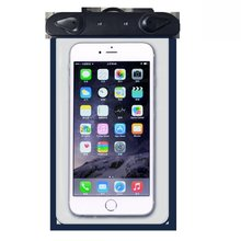 "Universial touch-friendly clear protective waterproof phone dry bag for 6"" smartphone with neck strap"