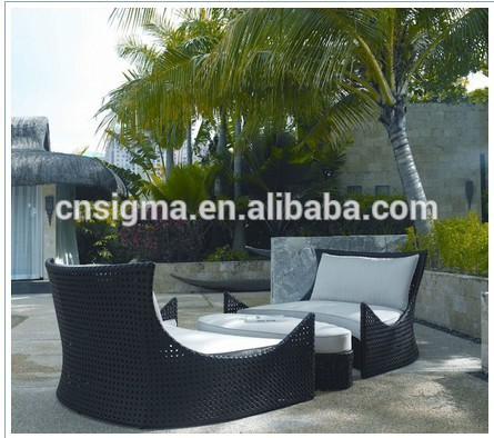 Sigma wholesale lounge furniture outdoor wicker set garden lounge bed