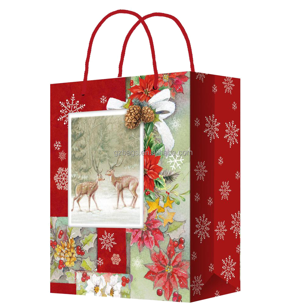 Wholesale customized printed luxury gift packaging kraft christmas paper gift bag