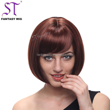 Classic Fashion Short Brown Bob Wig Shop Design Synthetic Hair Straight Wig For Women