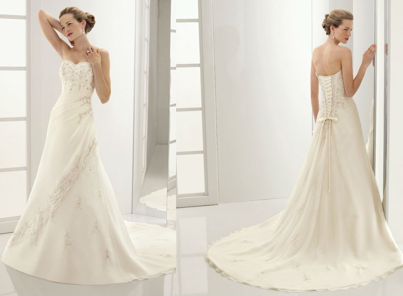 WD1522 new elegant off shoulder strapless small bow back lace up back patters 2013 designer wedding dresses in karachi