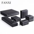 FANXI 2016 New Fashion Black PU Leather Ring Bangle Earrings Necklace Gift Storage Boxes Present Package Case Jewelry Holder Box