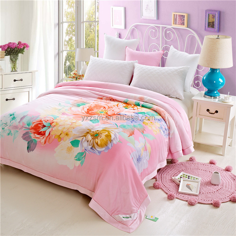 Disposabley China Pink Twin Polyester Ultrasonic Quilting Duck Feather Comforter Quilt