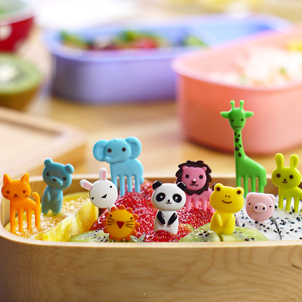 set of 10pcs animal bento decoration plastic fruit forks for lunch box accessory decor tool