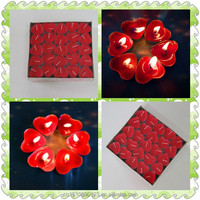 wholesale red heart tea light candle for wedding and love story and home decoration