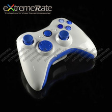 Polished White Replacement Housing / Shell For Xbox 360 Wireless Controller With Blue Inserts