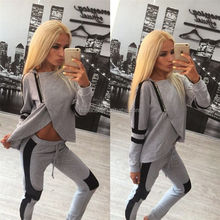 Womens Tracksuit Set 2016 Lady O Neck Long Sleeve Sweatshirt Tops Pants Suit Casual 2 piece Set women sweat suits sweatsuit