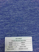 blue and white silk network jersey fabric