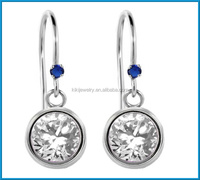 Newest round white zirconia blue created sapphire 925 sterling silver earrings