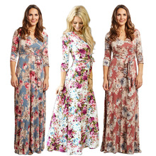 Woman Bohemian Dresses Sexy Deep V Neck Retro Vintage Floral Print Half Sleeve Tunic Belted Long Maxi Dress Party Female