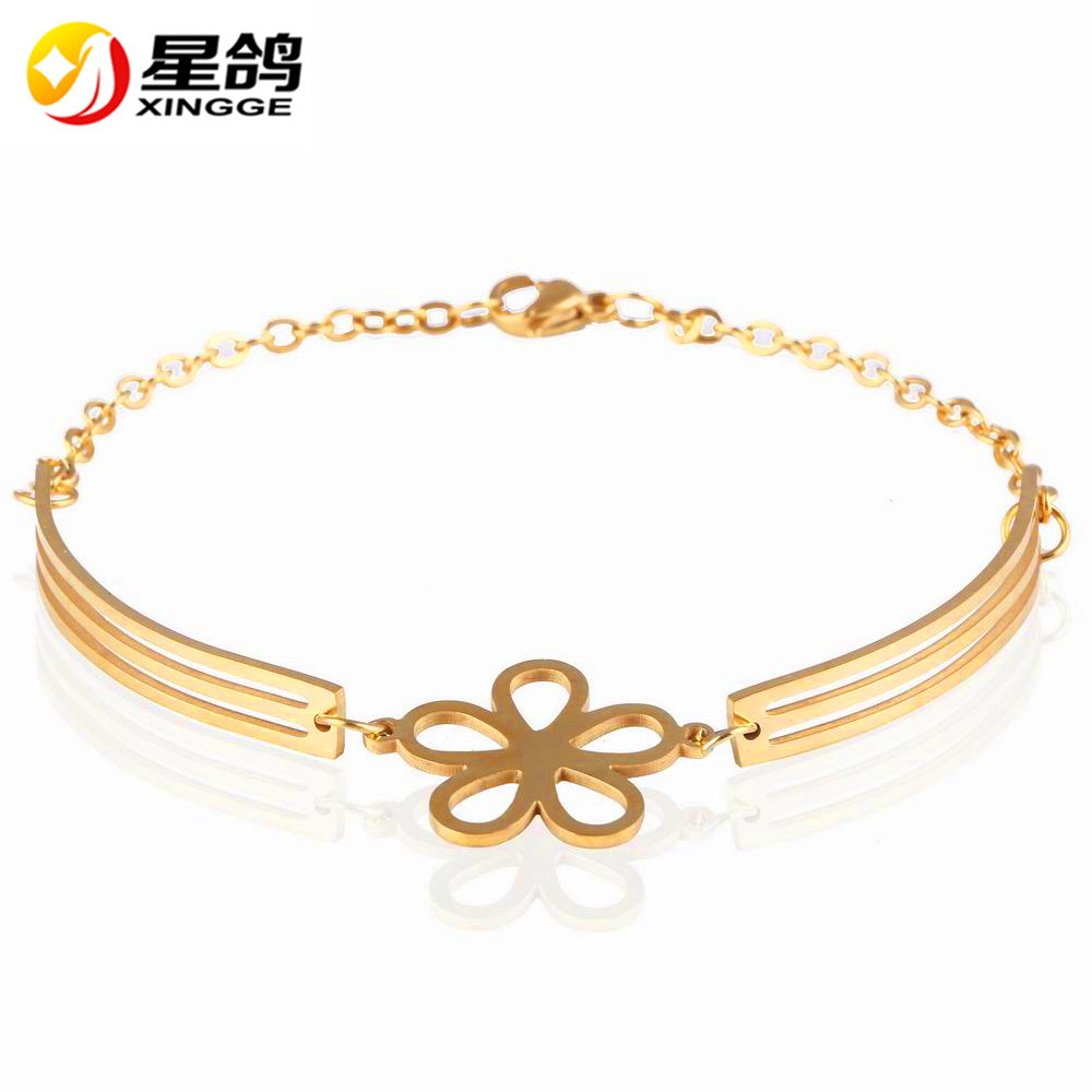 New Designer Top Quality Women <strong>Accessories</strong> Stainless Steel Bracelet Silver/ Gold Colors Flower Bracelets Valentine's Day gift