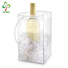 Transparent pvc cold wine ice bag carrier with front pouch, clear single wine bag with handle