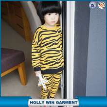 New design yellow tiger stripes children soft clothing set