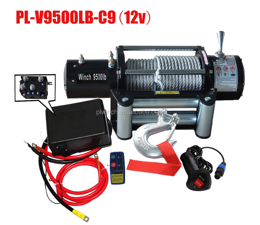 fast line speed electric winch 12V 9500lb with high torque force motor