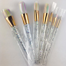 Latest transparent handle soft hair crystal spiral makeup brushes set