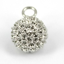 Pendant, Fashion Brass Jewelry Silver Pave Ball Shape CZ Stone Gold Pendant, Pendant Jewelry Findings Pendant P4513