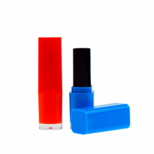 Good quality wholesale hot empty cosmetic tube plastic blue orange candy color square lipstick case with clear bottom ZK68047