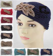 beads flower jeweled knitted headband knit headwrap HJ-199