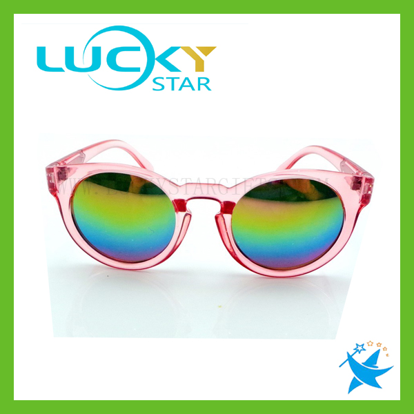 Pink Semi clear vintage round frame eye glasses mirrored lens sunglasses shades Ice sunglasses
