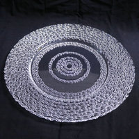 GP0051 Wholesale dishes clear fancy glass wedding charger plates for hotel and restaurants