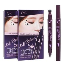 QIC double use fashion stamps liquid eyeliner waterproof lasting eye liner pencil eyeliner stencil eyeliner liquid makeup