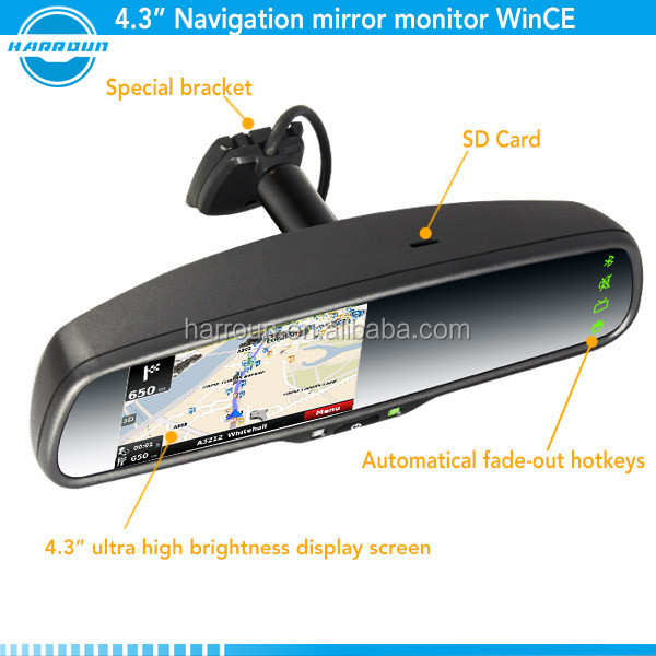 4.3 inch rearview mirror gps navigator bluetooth can handsfree kit with TMC function for any cars