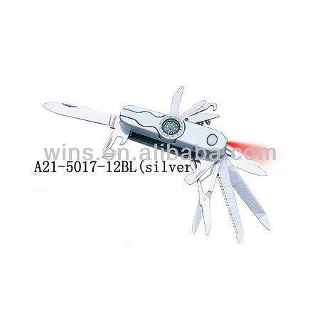 multi tool plastic pocket knife with compass and LED