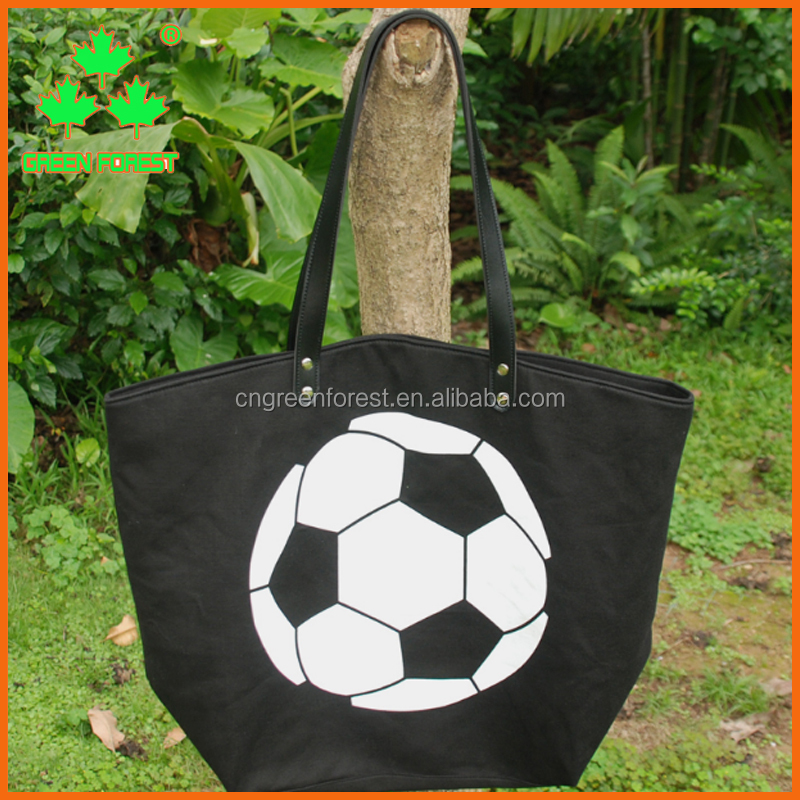 personalized canvas soccer tote bags with leather handle