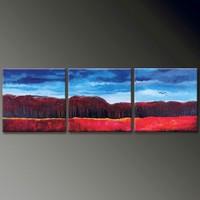 handmade home decor Artwork 3 panel blue sky group oil painting on canvas