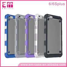 Non-slip Silicone Rubber Shockproof TPU Bumper Frosted Transparent PC Case for iPhone 6 6Plus