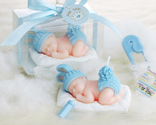 Good quality Blue Sleeping Baby Boy Candle Favors Creative Smokeless Birthday Candle Favors For Wedding/Baby Shower Gifts