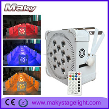 MQ-G115A 12pcs 18w rgbwa uv 6in1 wireless dmx led flat slim par light battery operated