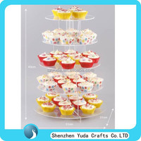 Popular custom handmade crystal clear 5 tier acrylic cake display stand, plexiglass cupcake display rack wholesale
