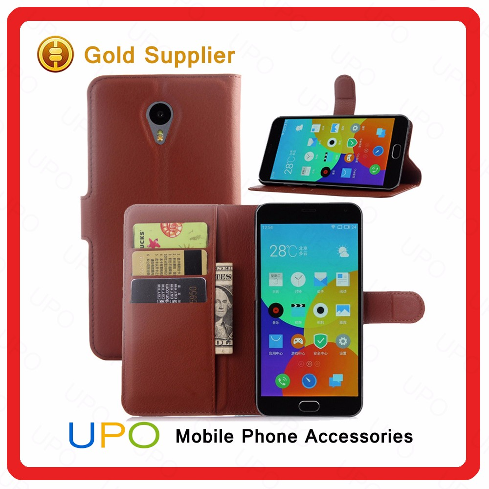 [UPO] For Meizu M2 Note Flip Case, Genuine Leather Wallet Cell Phone Case Cover for Meizu Note 2