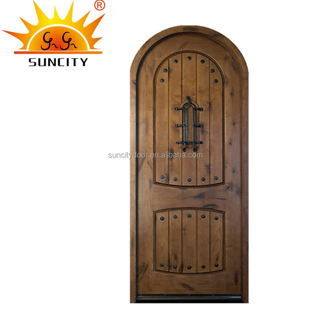 SC-W135 Top quality solid wood arch main door design