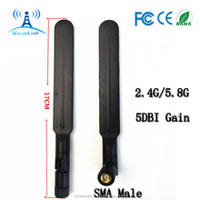 External Rubber Flat Dual Band 2.4GHz 5GHz WiFi Antenna With SMA Male
