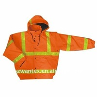 High orange PU coated polyester outer shell safety and reflective bomber orange jacket work clothes