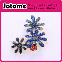 1.75H x 1.25W inches Crystal Blue Flowers Red Lady Bug Brooch / Red Blue Brooches Nature Jewelry for Ladybugs Lover