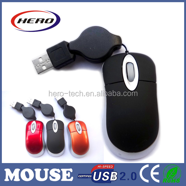 Mini size scroll wheel laptop mouse with retractable cable,custom mouse