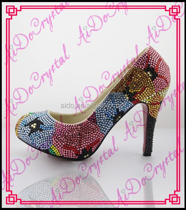 Aidocrystal Fashion handmade Unique design round toe colorful crystal sexy super high stiletto heel lady shoes