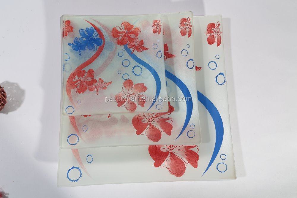Advertising gift tempered unbreakable glass dish plate dinnerware