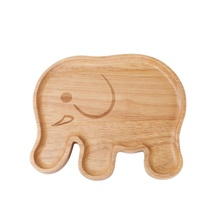 Cute Natural Rubber Wood Handcrafted Elephant Shaped Dessert <strong>Plate</strong> for Kids