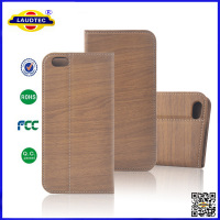 Hot Selling Wooden Wood Pattern Leather Wallet Case for iPhone 6,Luxury OEM Design for iPhone 5 6 Laudtec